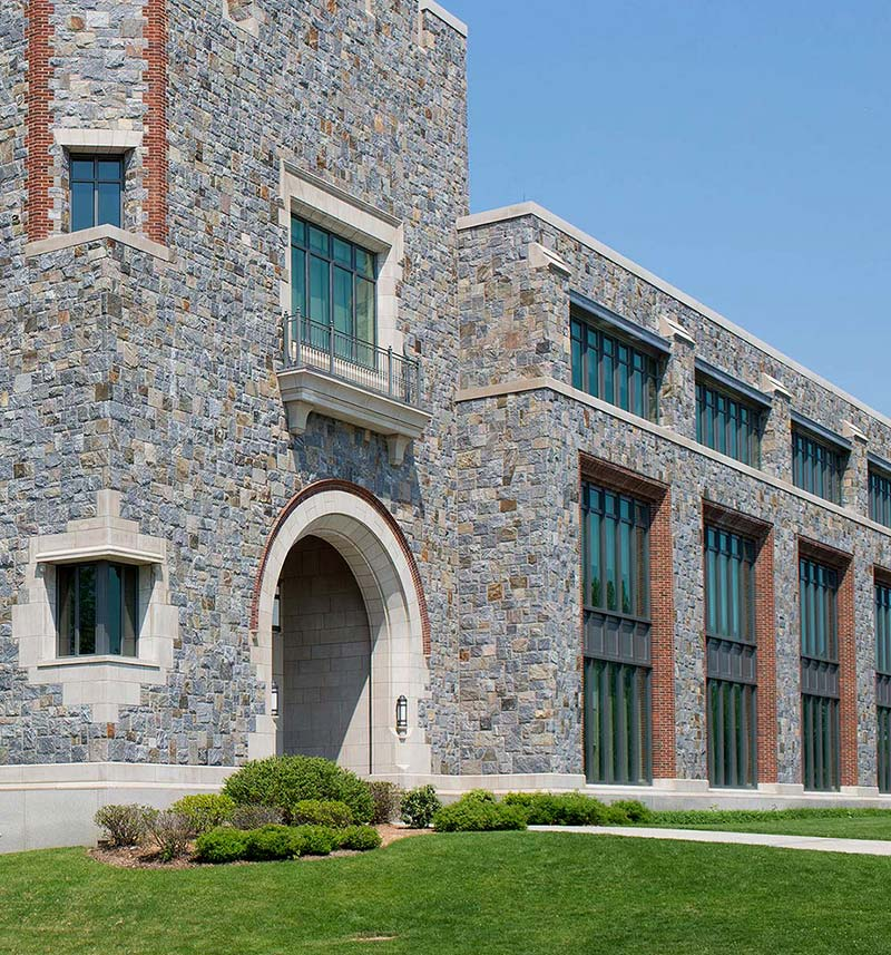 natural stone veneer on gothic building