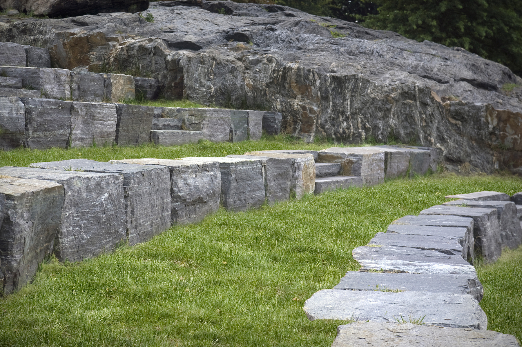 Stone seating in small amphitheater