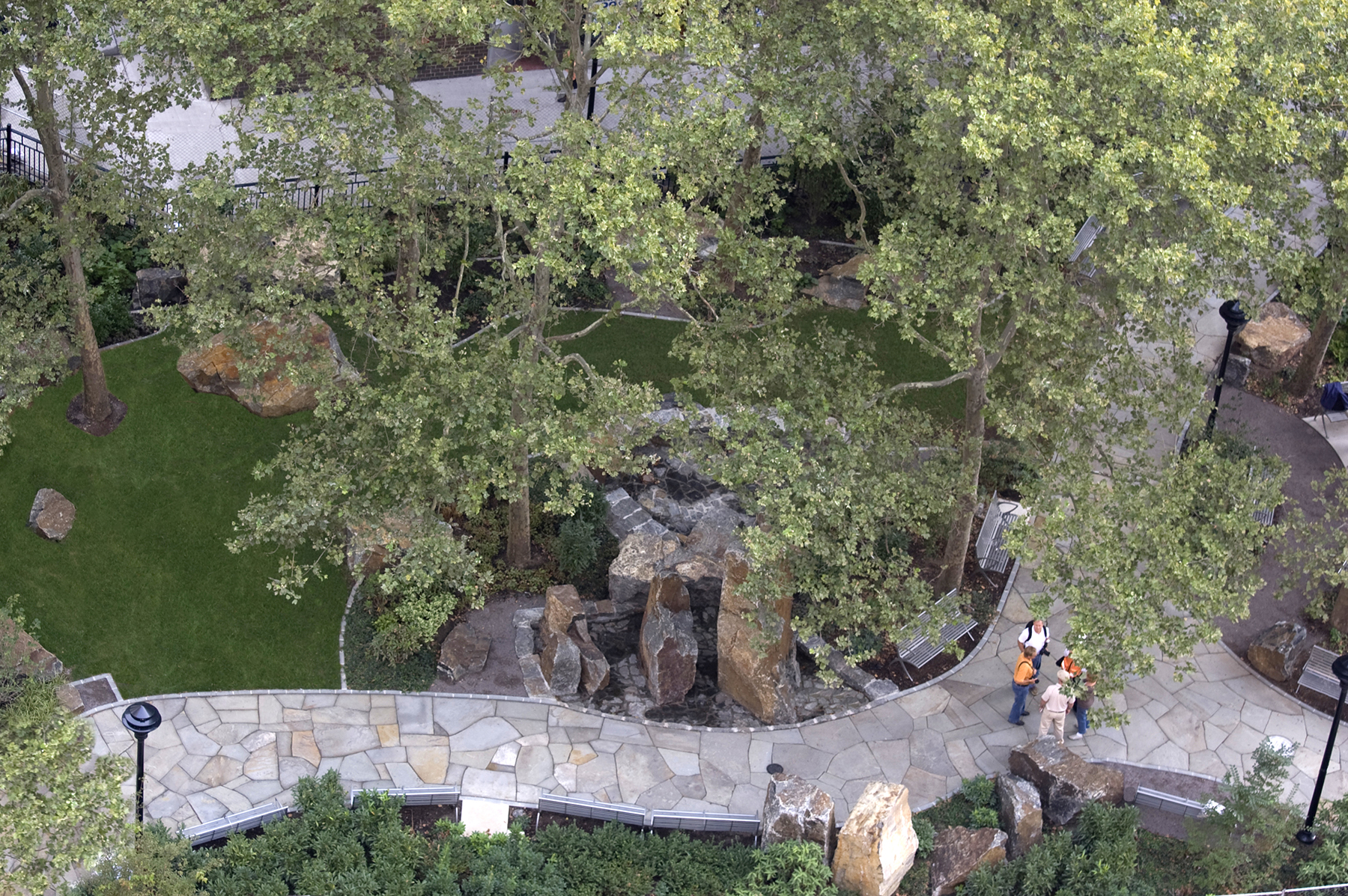 Aerial view of stone walkway