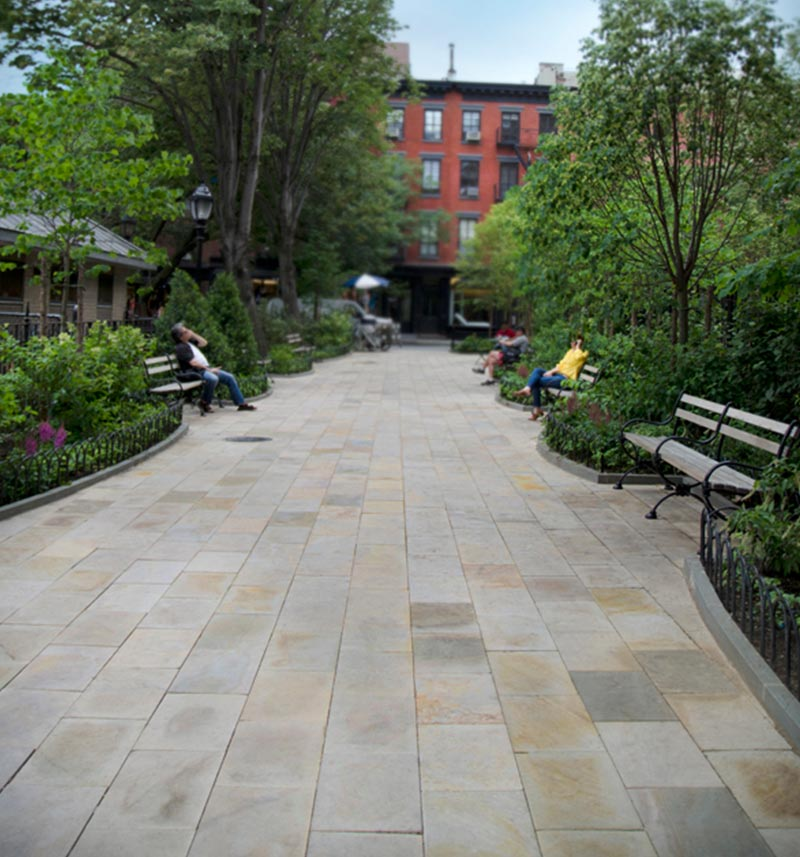 Natural stone pathway in NYC Park