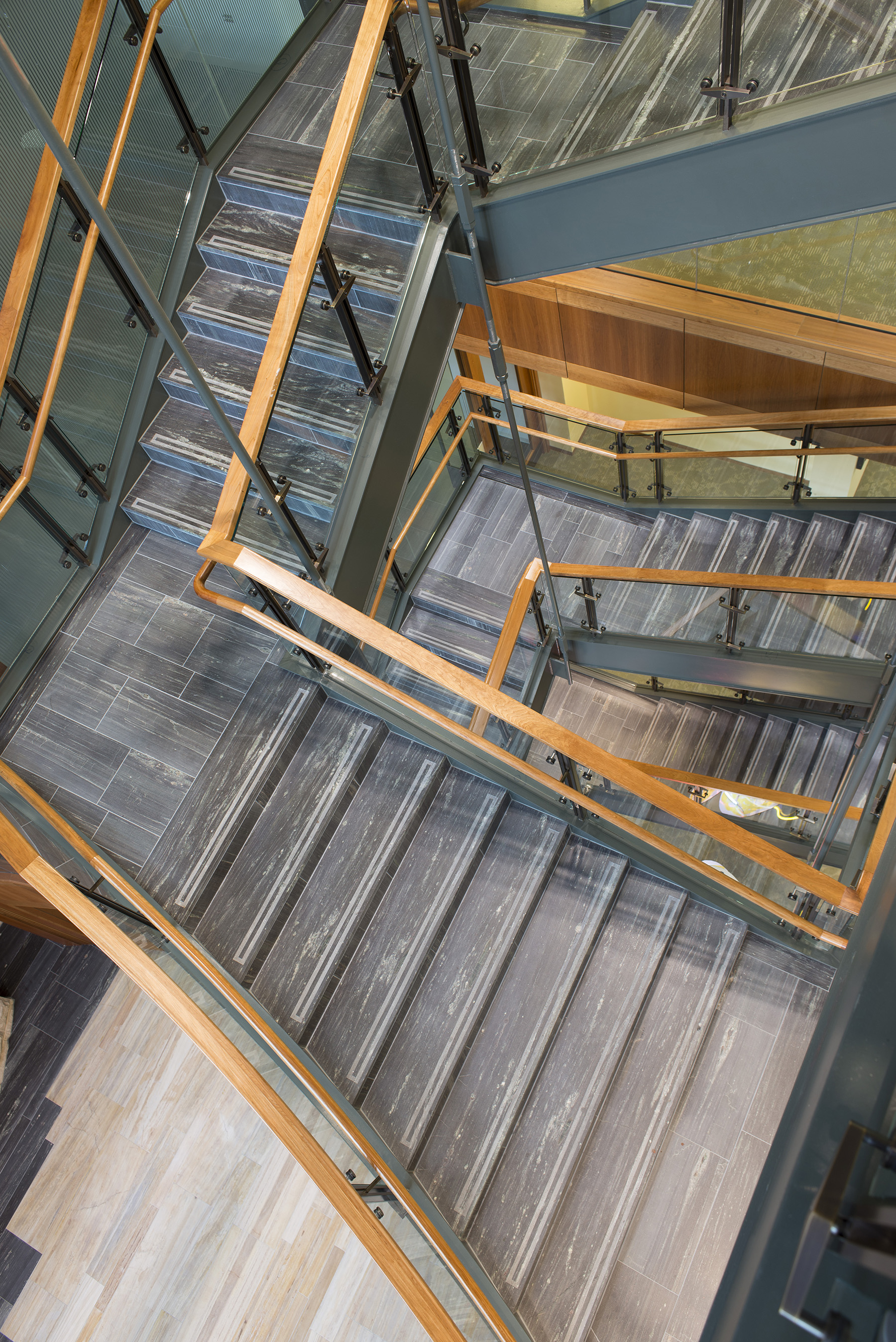 birds eye view of staircase