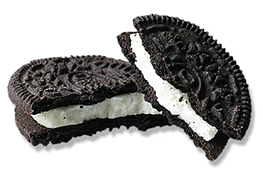 oreo cookie broken in half
