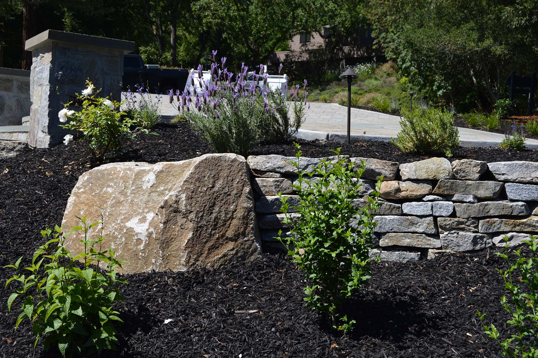 natural stone boulder and retaining wall at toledo court