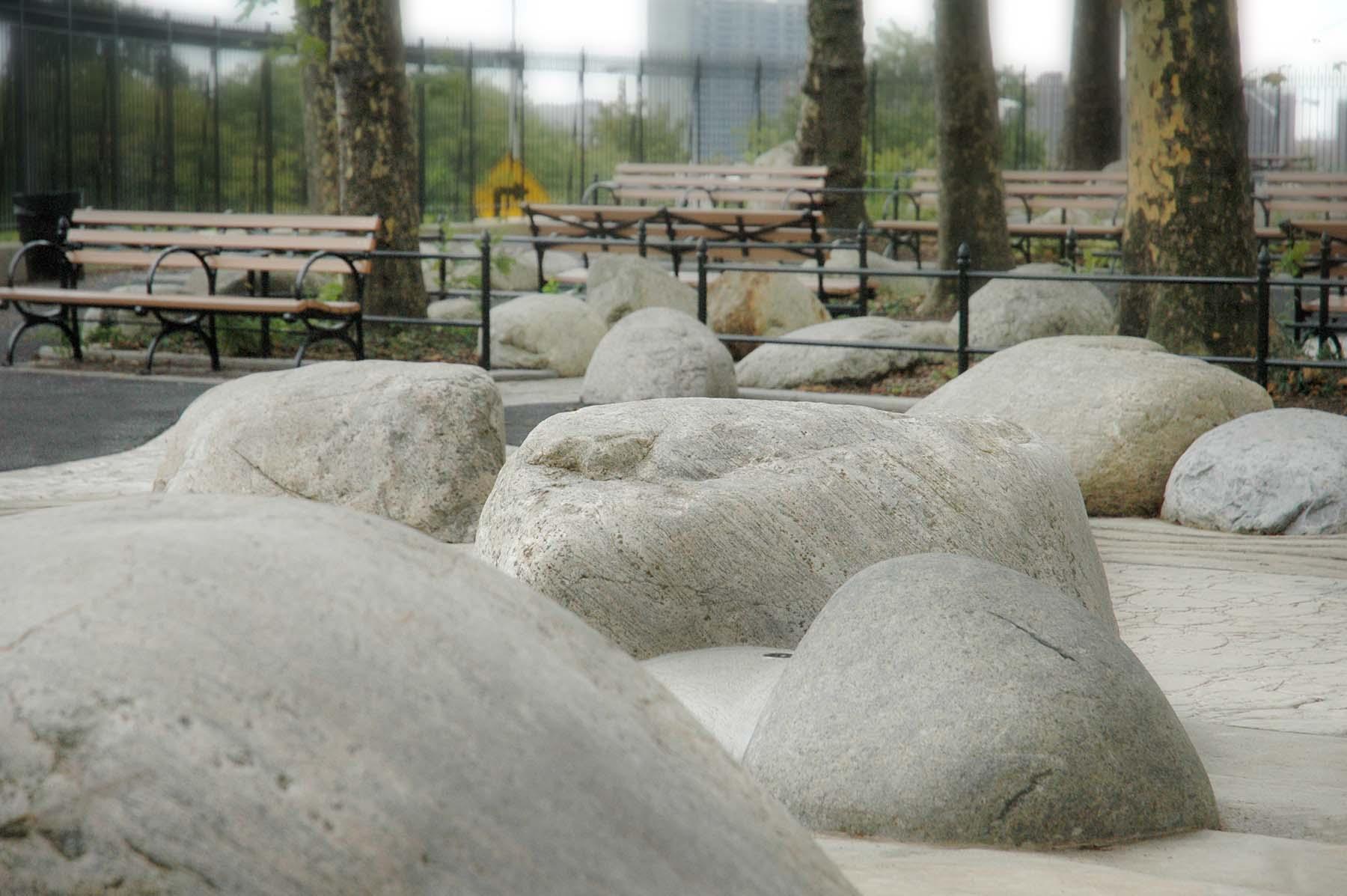 adirondack fieldstone boulders in urban park