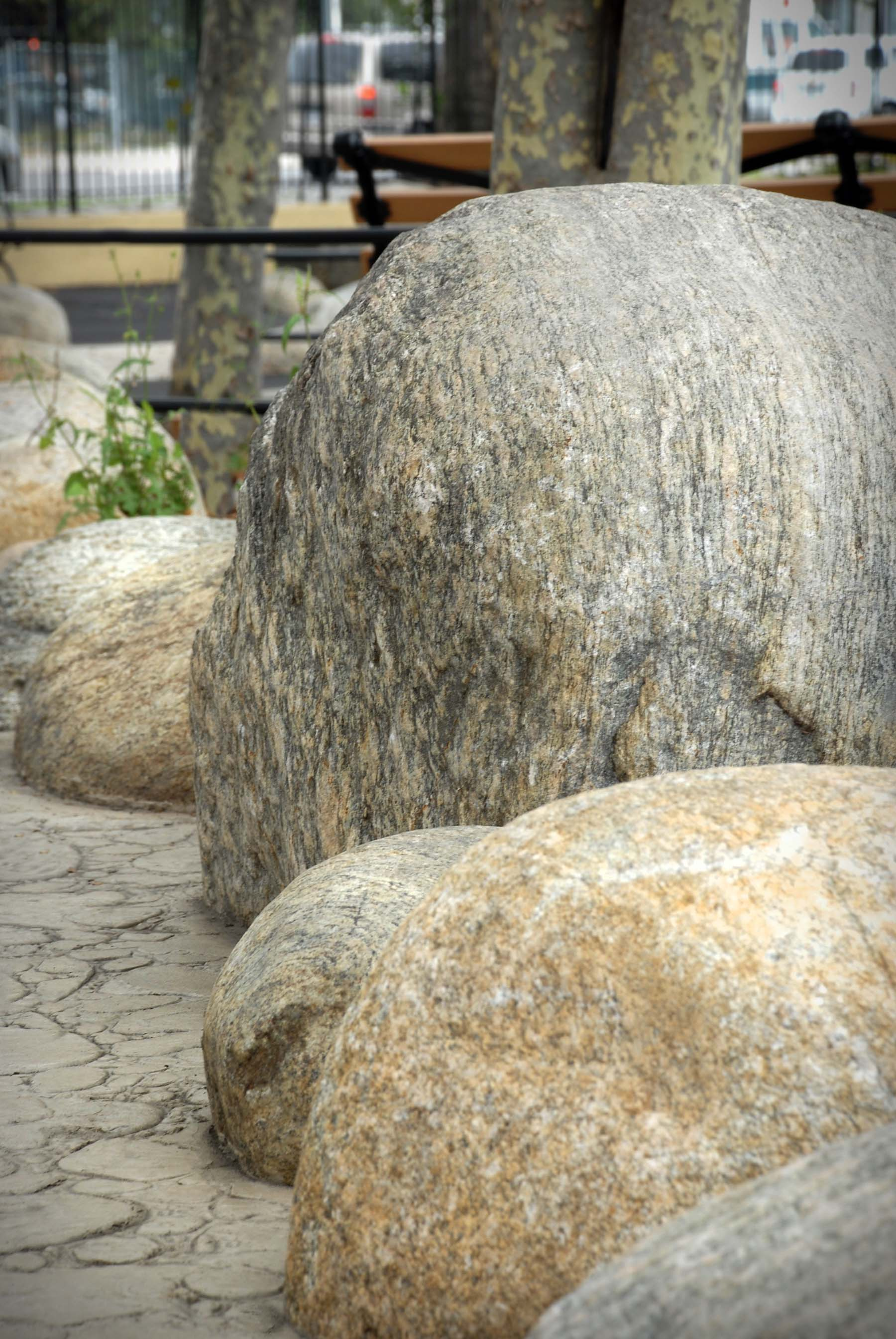 Adirondack fieldstone boulders outside
