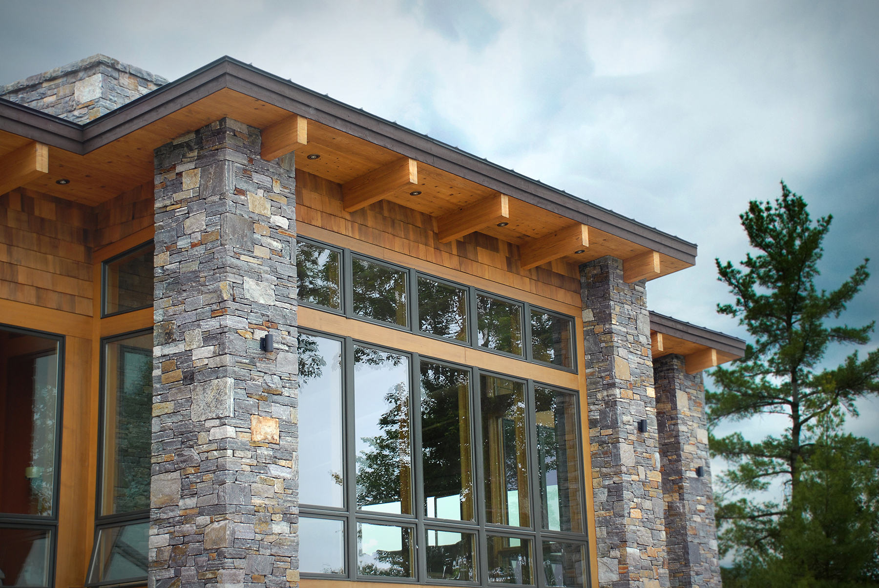 private residence with stone columns