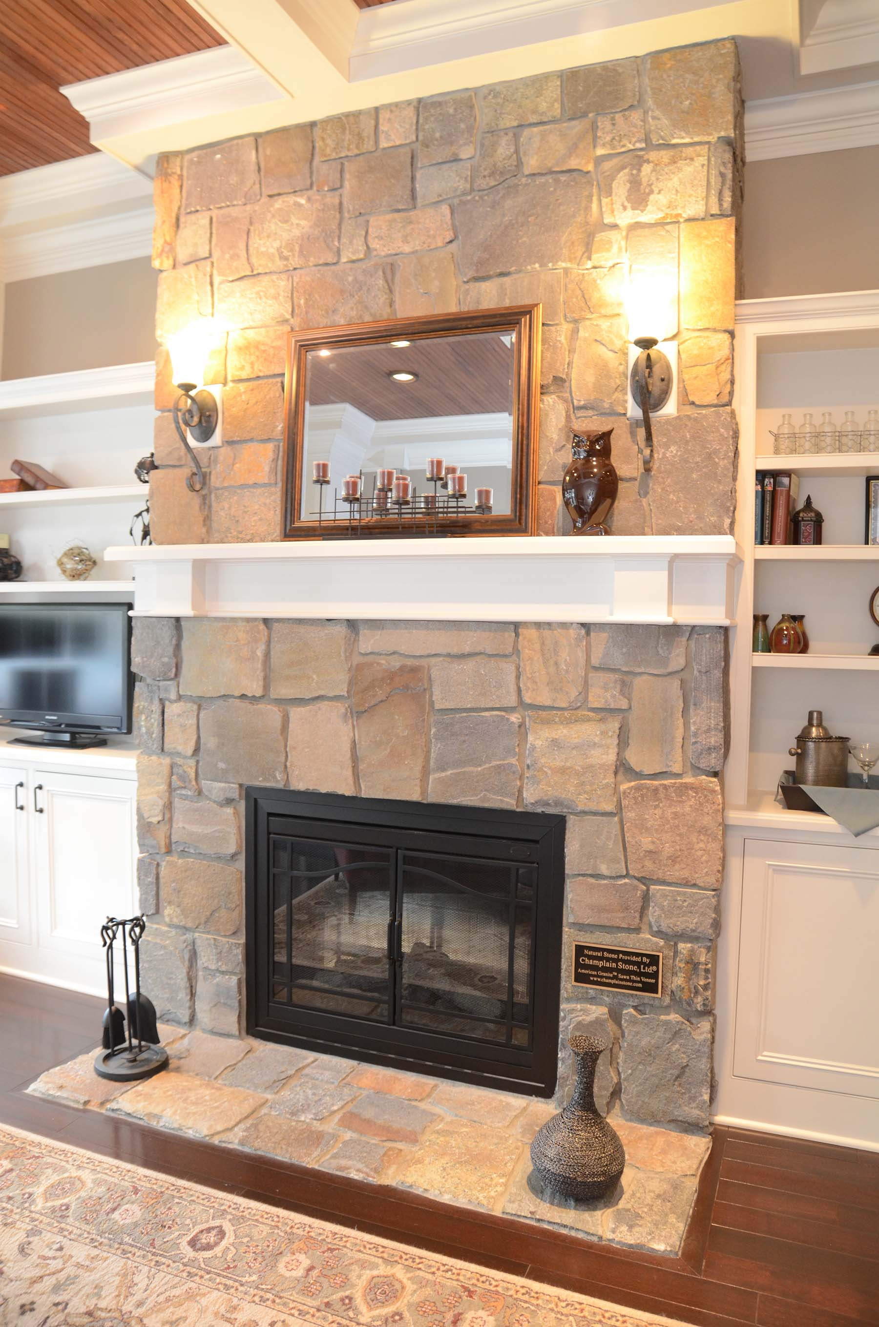 residential home with american granite natural stone fireplace