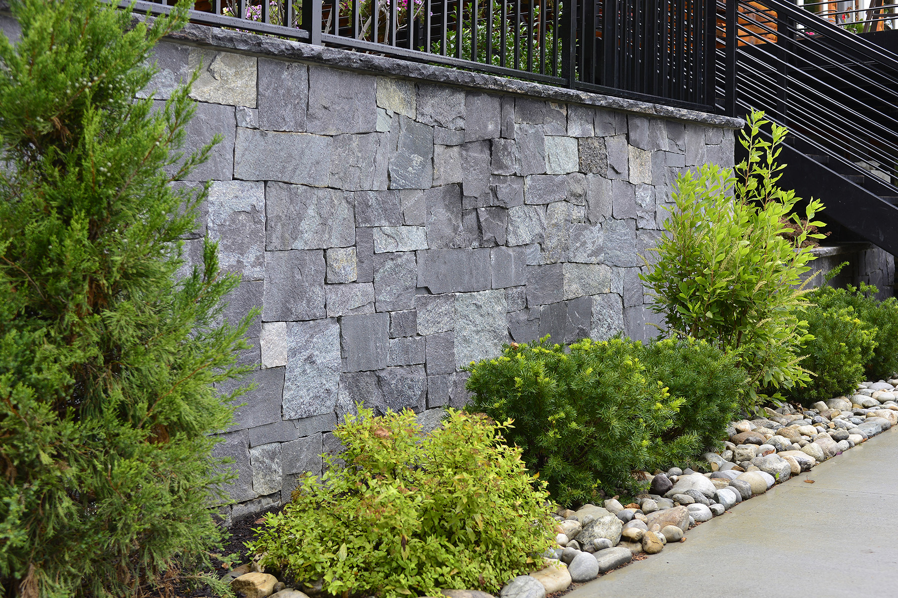 stone wall with small bushes in front
