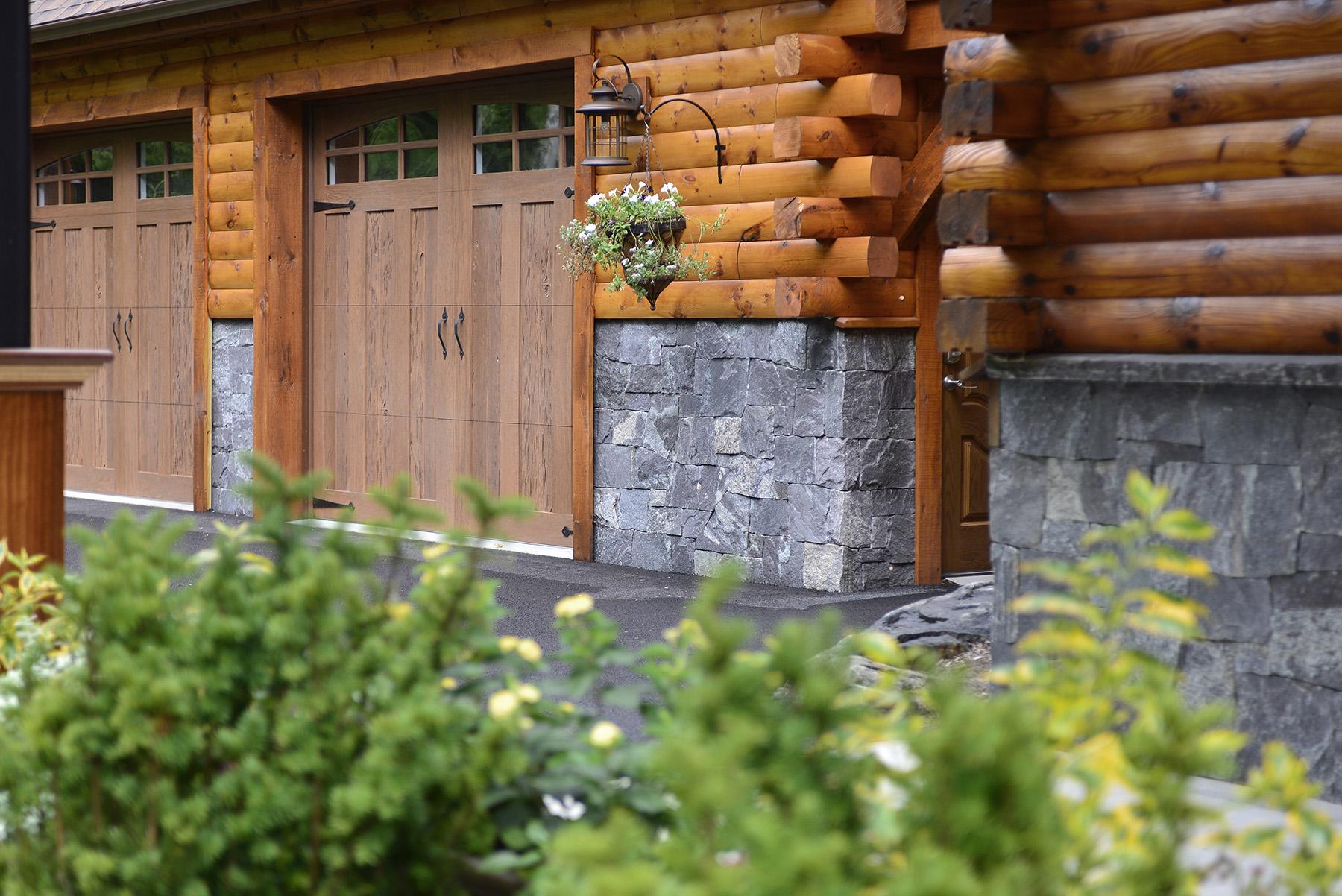 stone detailing on garage