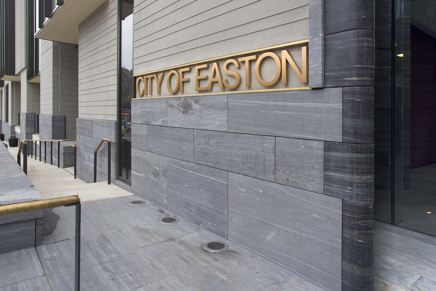 natural stone exterior thin veneer wall at Easton City Hall