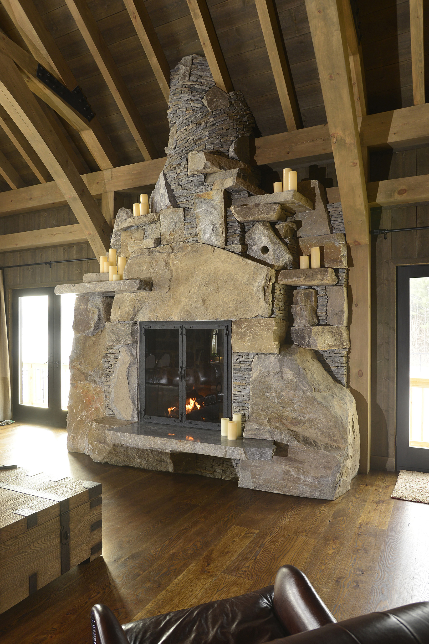 funky stone fireplace