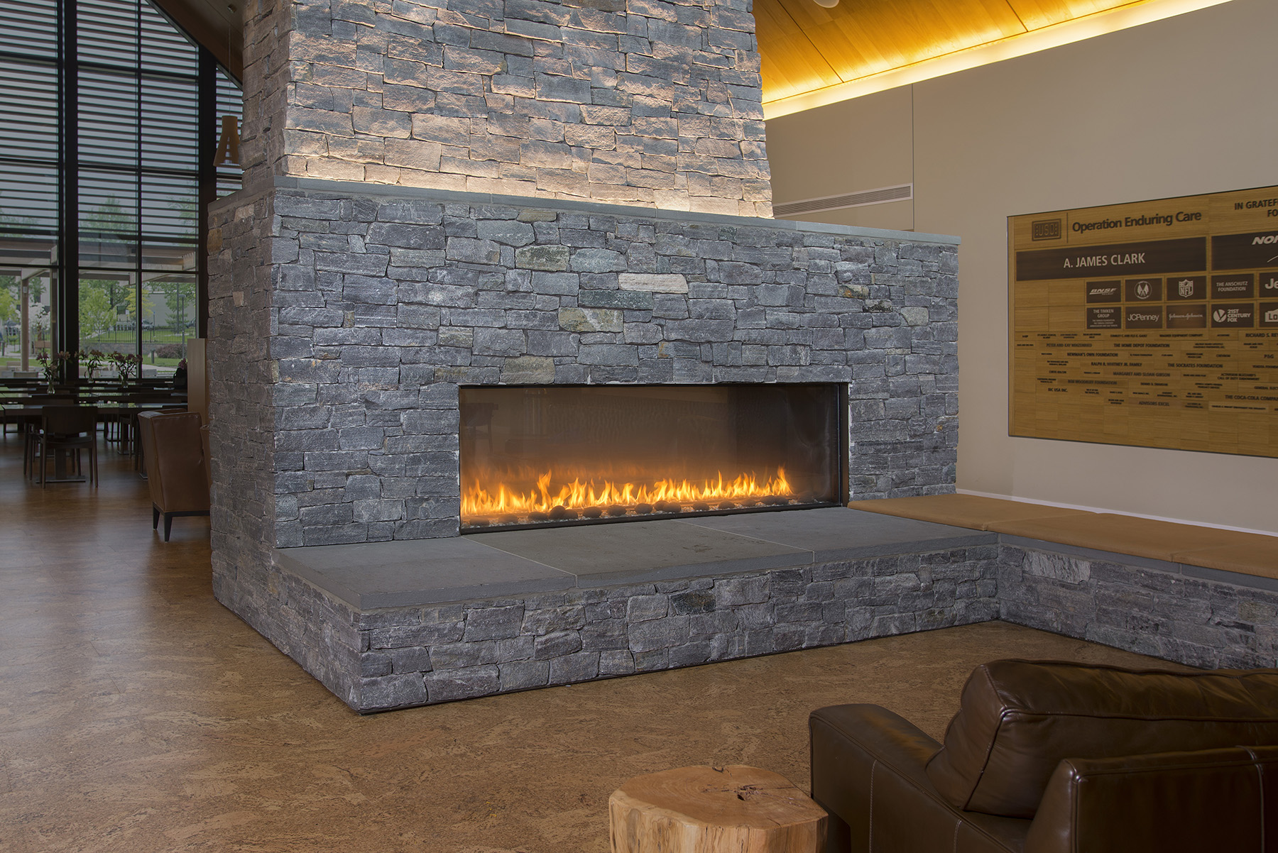 large rectangular fireplace