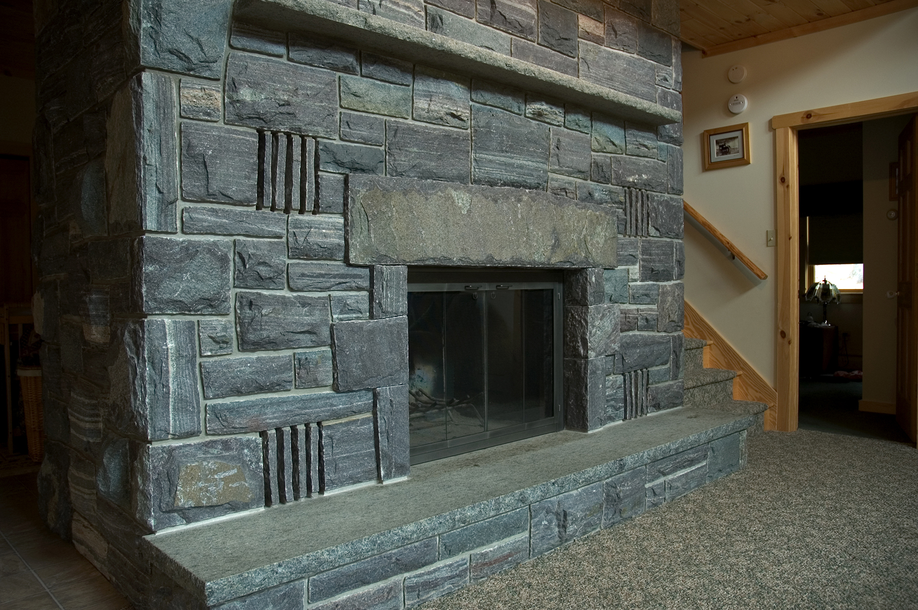 dark gray stone fireplace