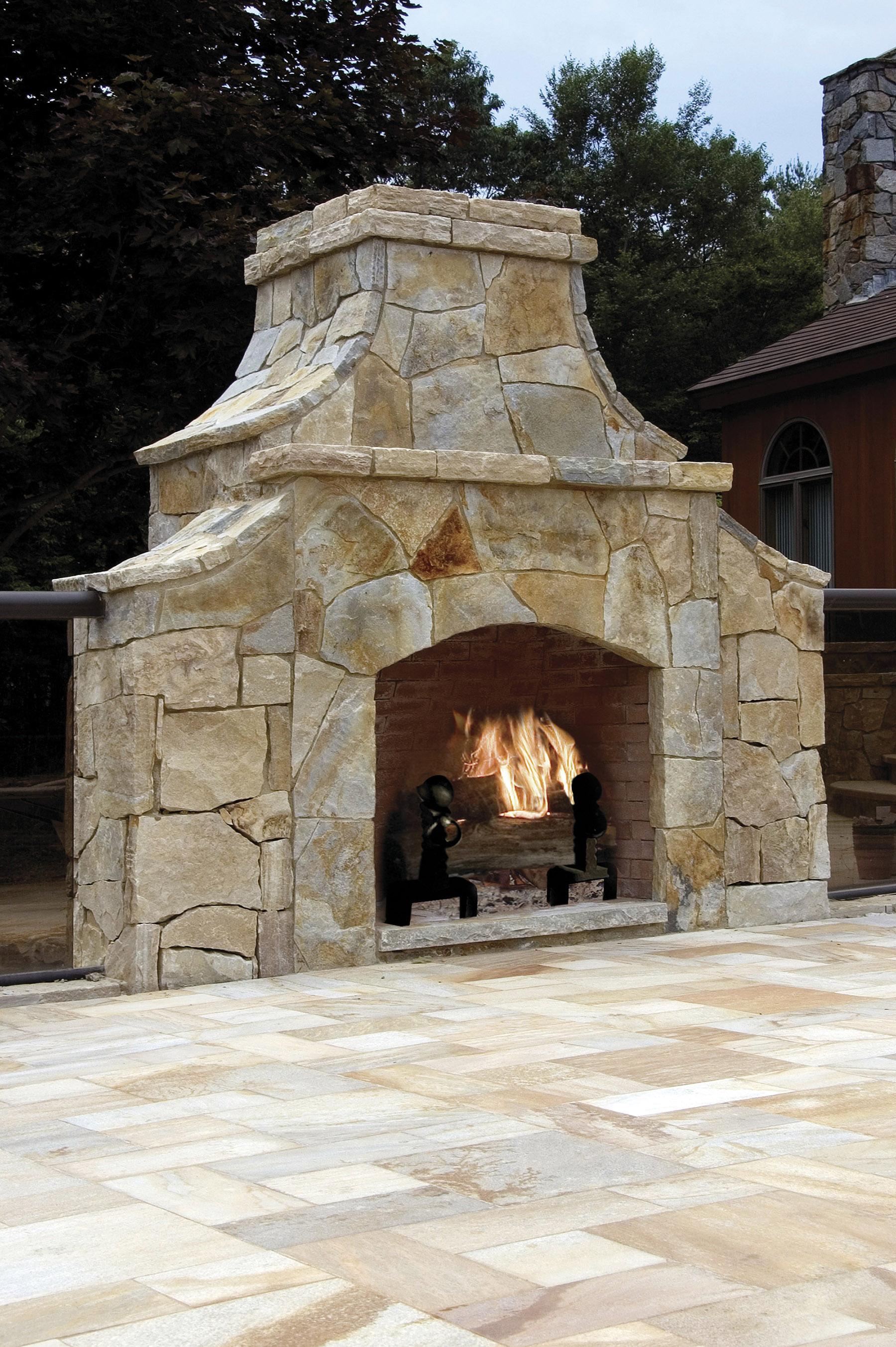 stone fireplace outside