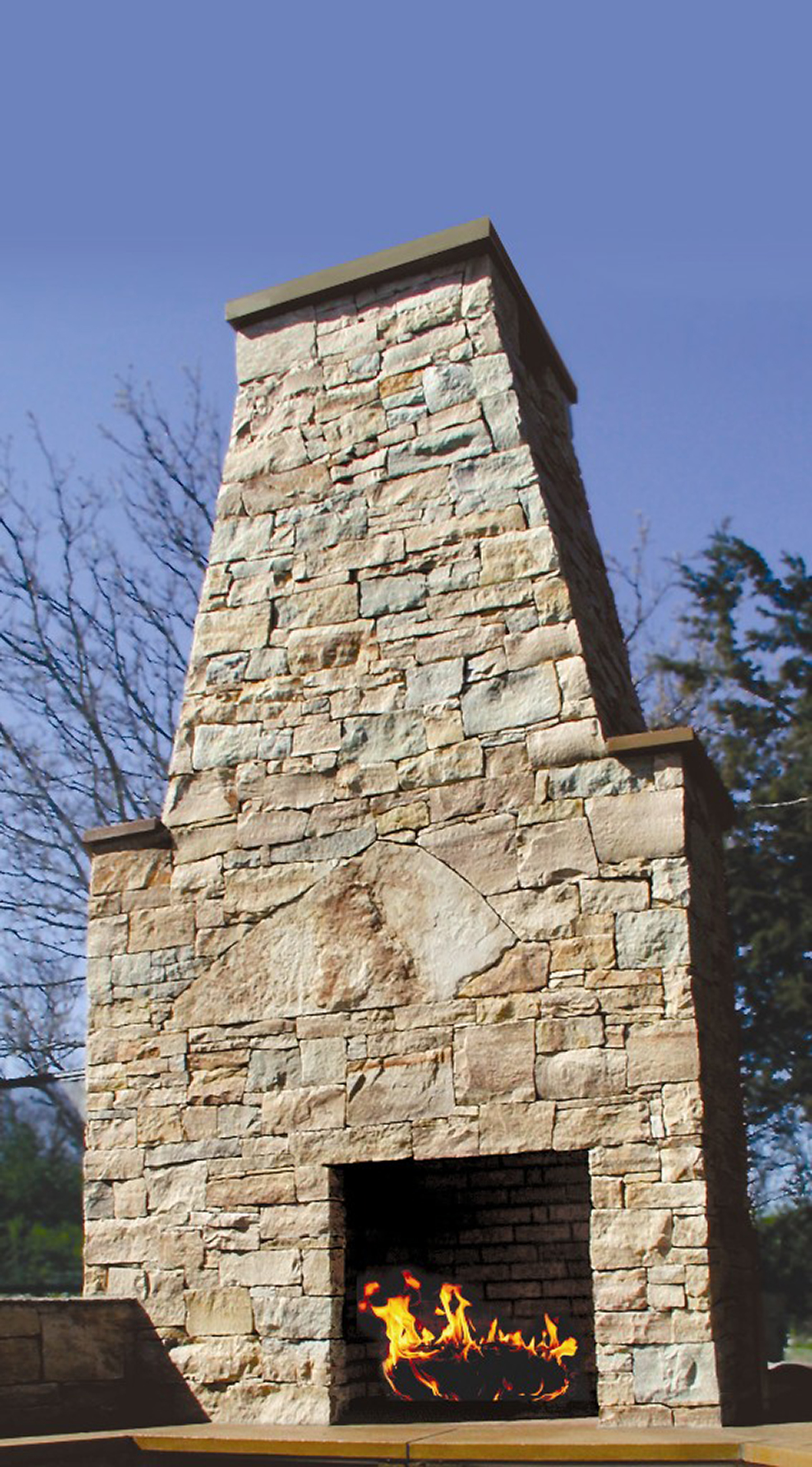 stone fireplace outside