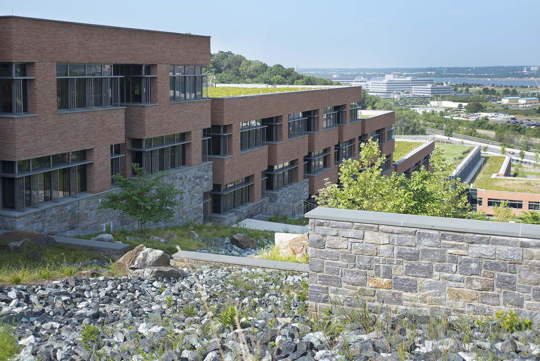 stone veneer buildings at USCG Headquarters