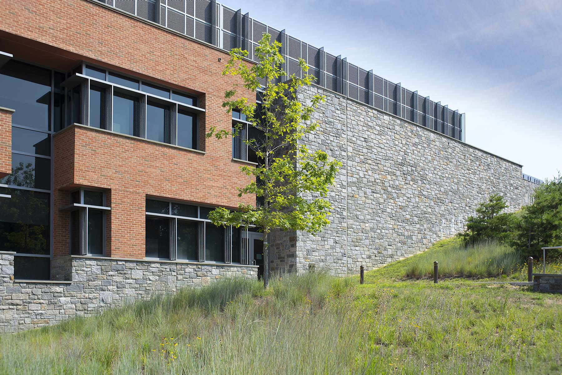 natural stone wall on building at USCG headquarters