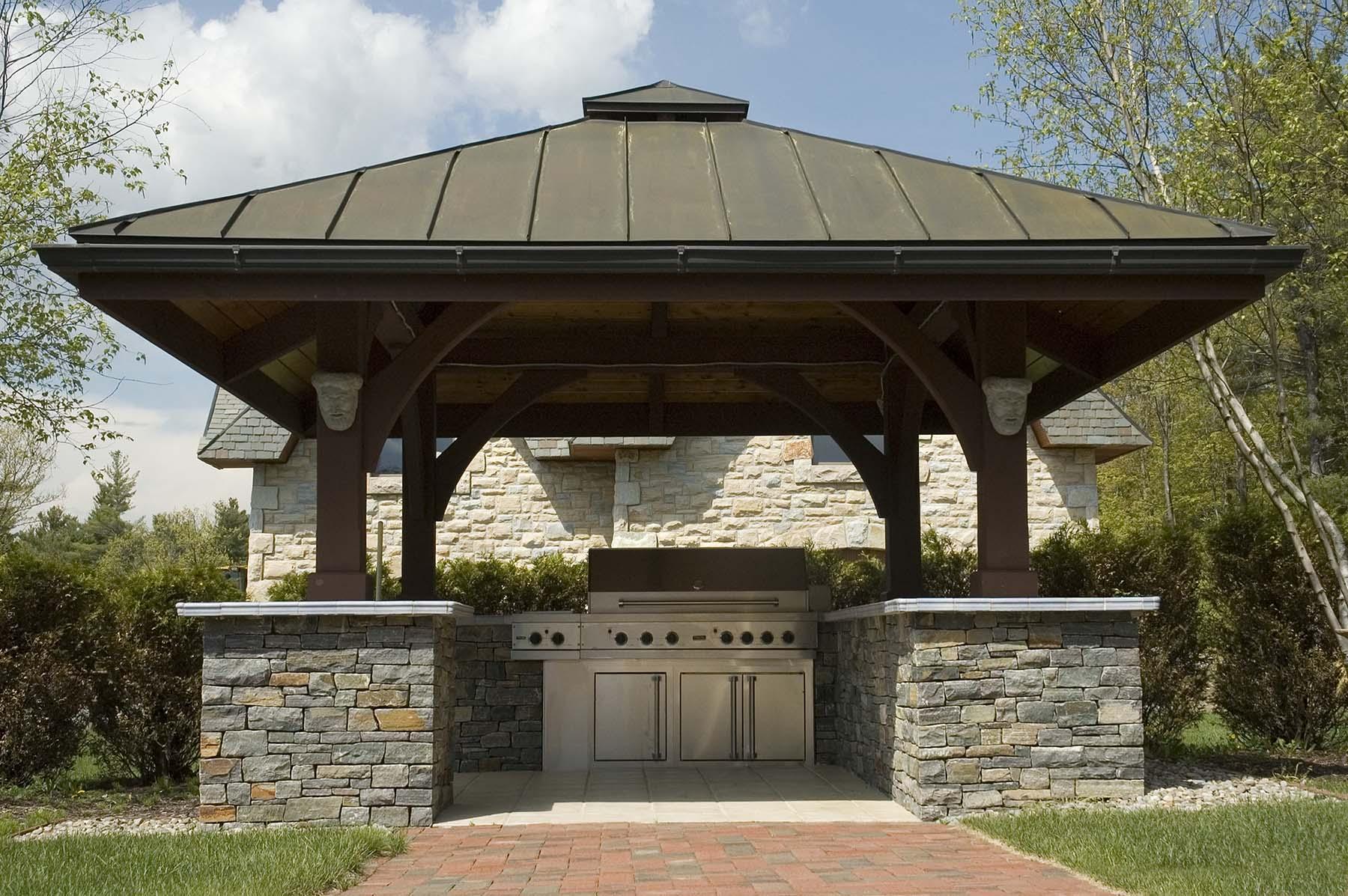 saratoga granite natural stone pavilion for grill