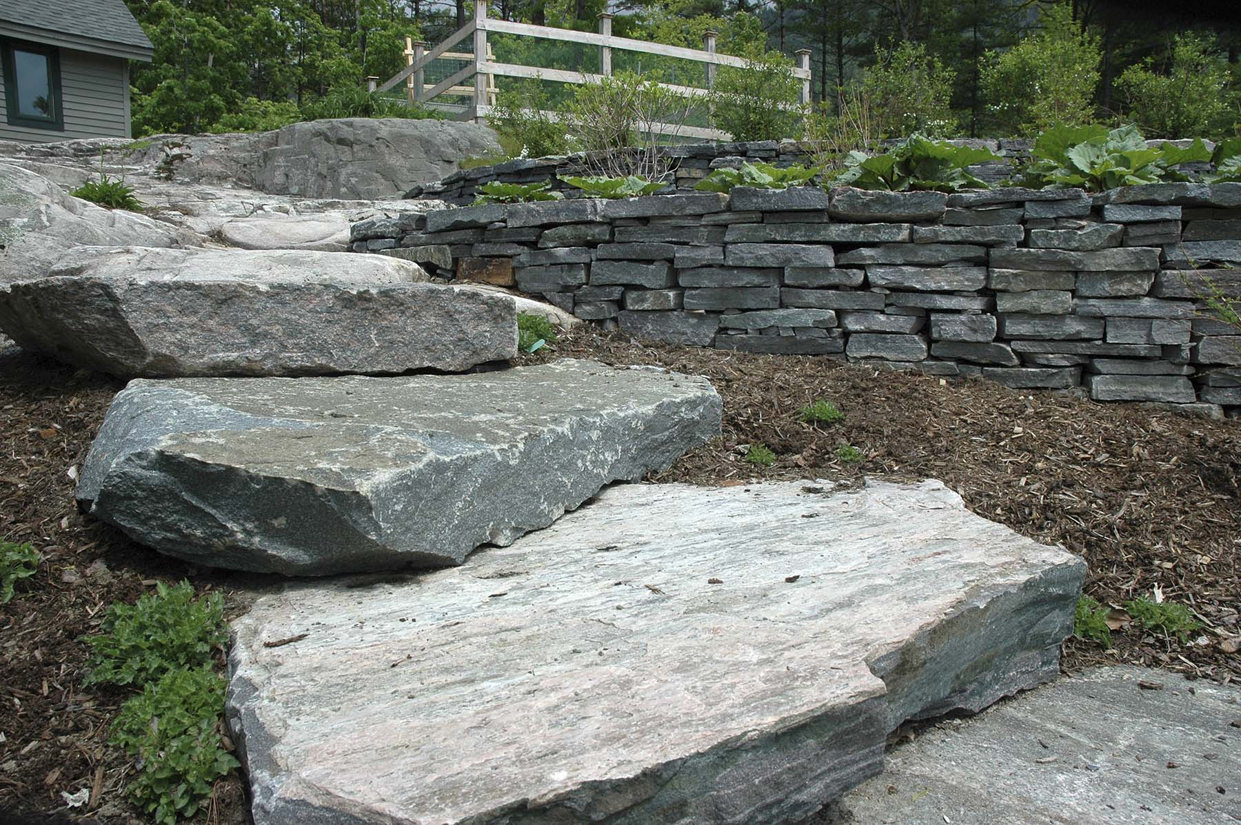saratoga granite mosaic natural stone slab steps outside residential home