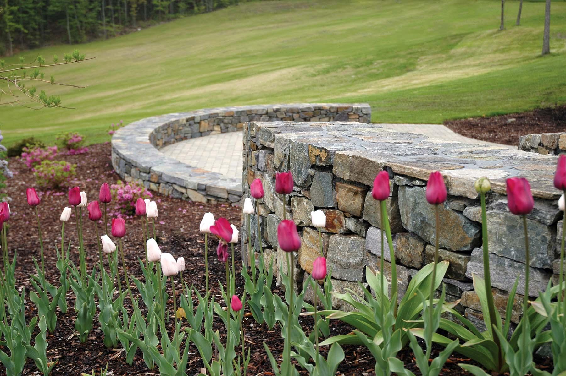 natural Adirondack stone wall off patio