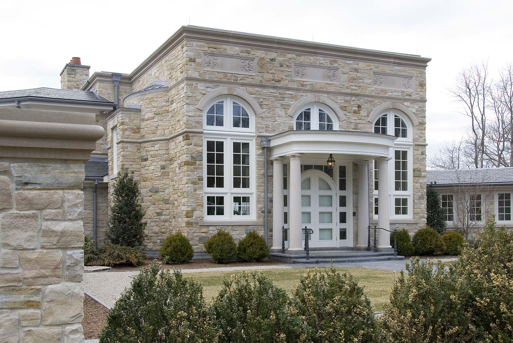 Building with South Bay Quartzite natural building stone exterior