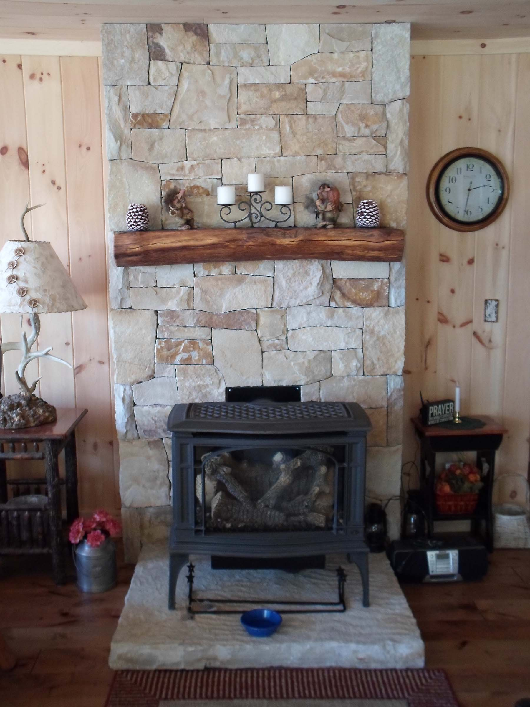 South Bay Quartzite natural stone fireplace