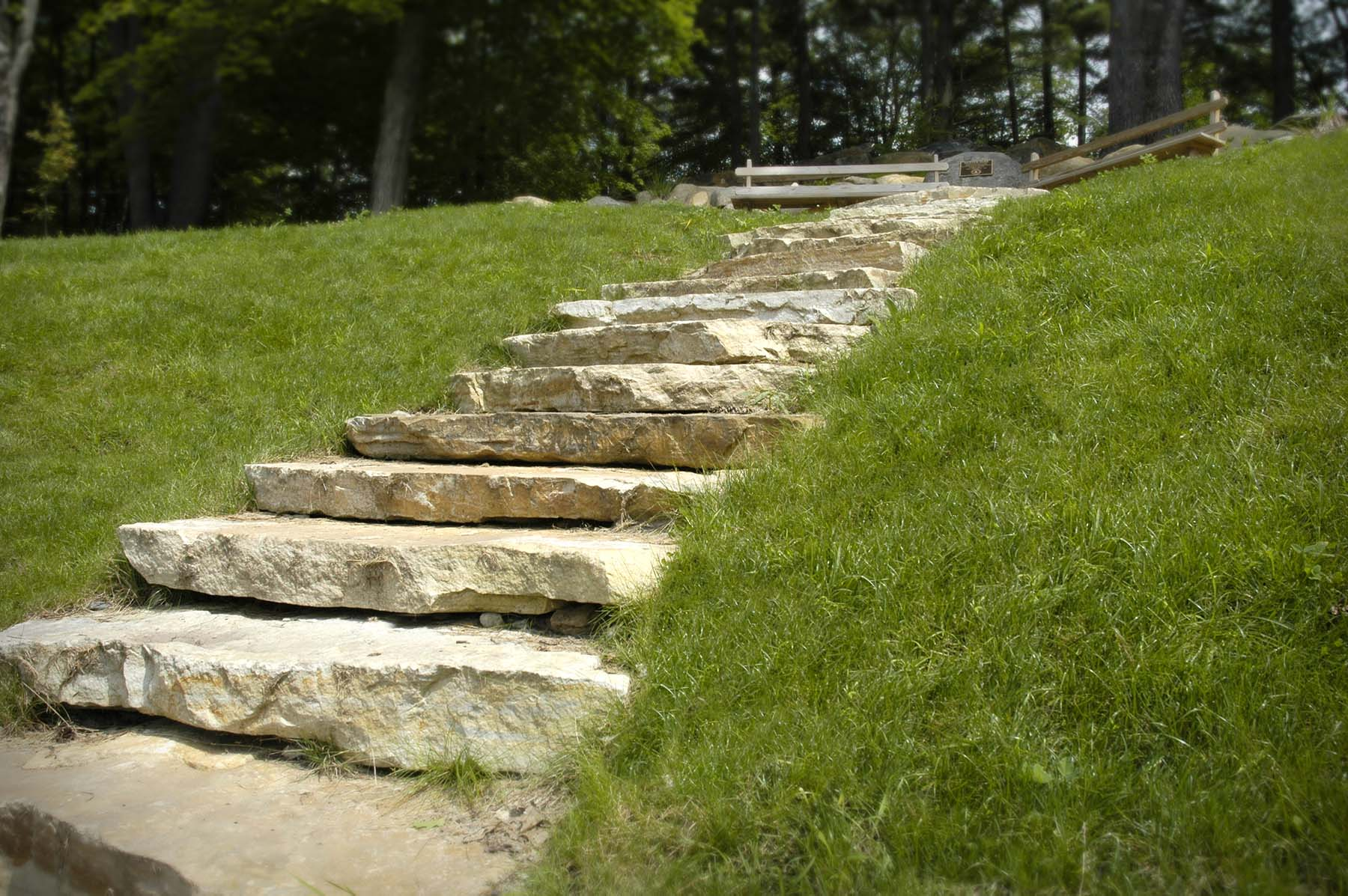South Bay Quartzite natural stone slab steps in park
