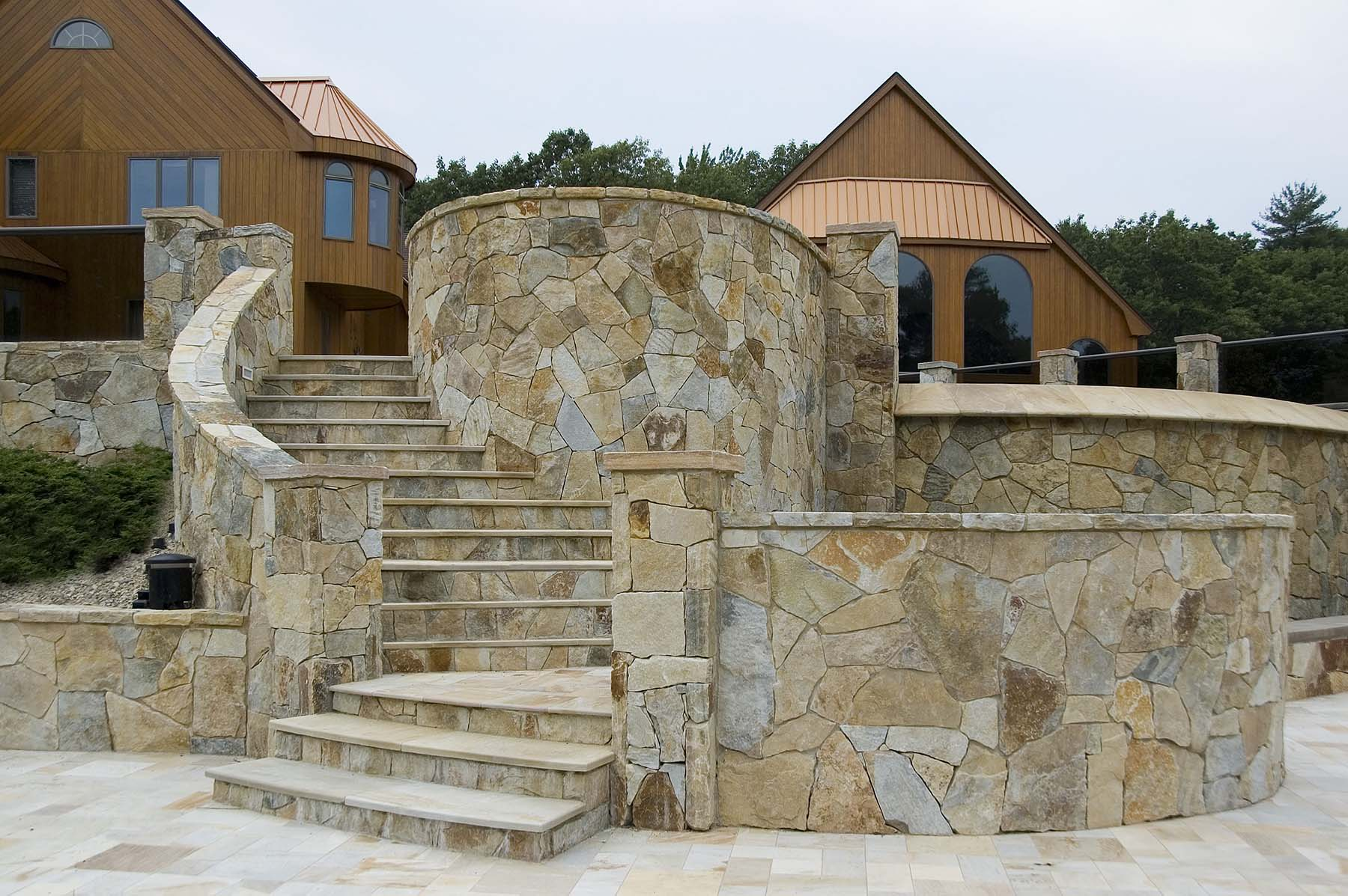 South Bay Quartzite natural stone outdoor staircase