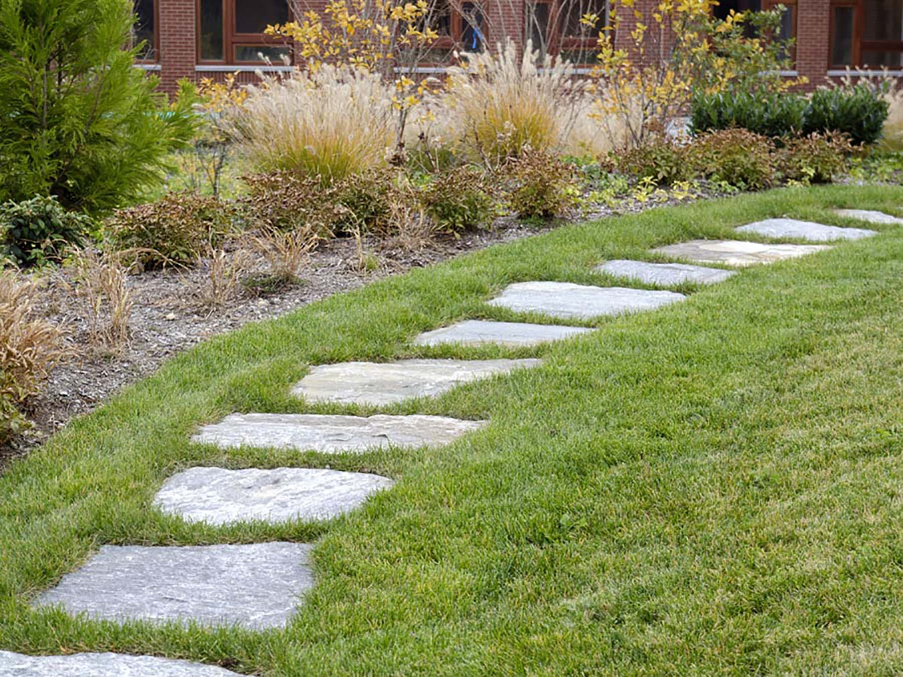 Ticonderoga Granite Flagging in lawn
