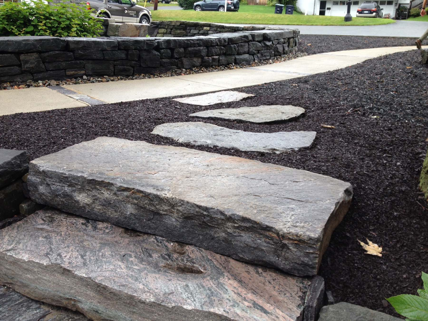 Ticonderoga Granite Flagging and Stairs outdoors