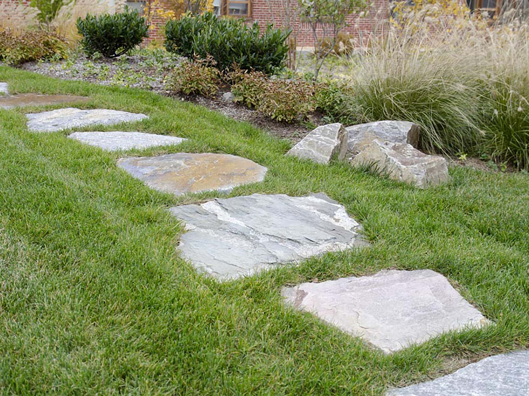 Ticonderoga Granite Flagging in grass