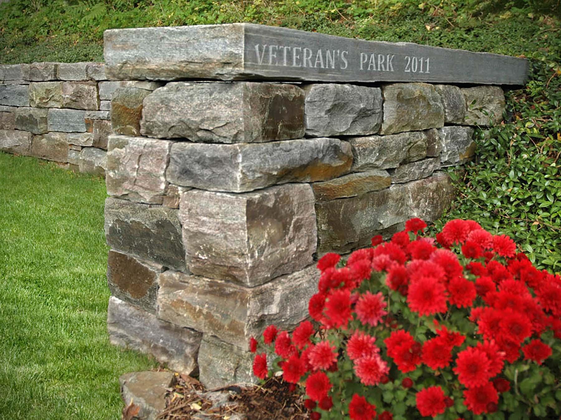 natural stone Ticonderoga granite wall in park