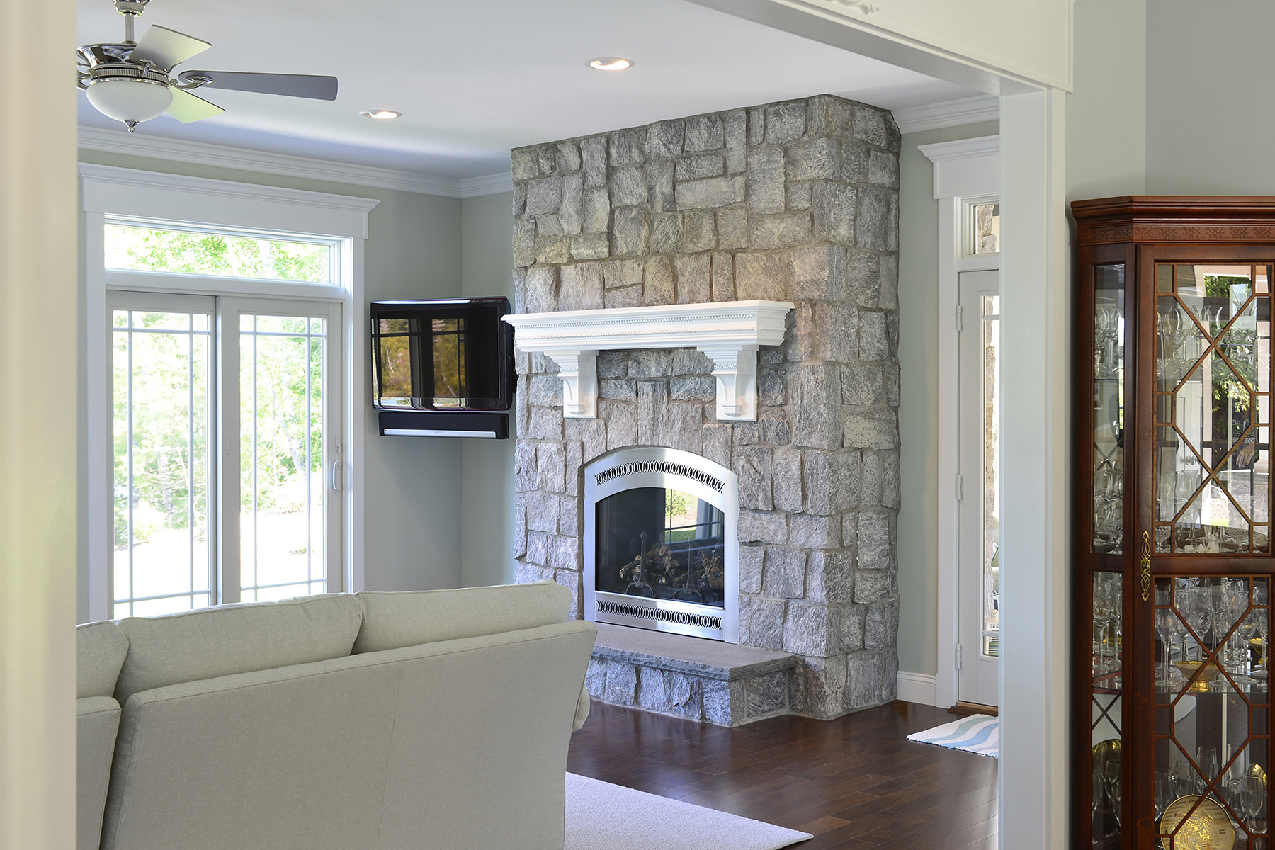 stone fireplace and chimney