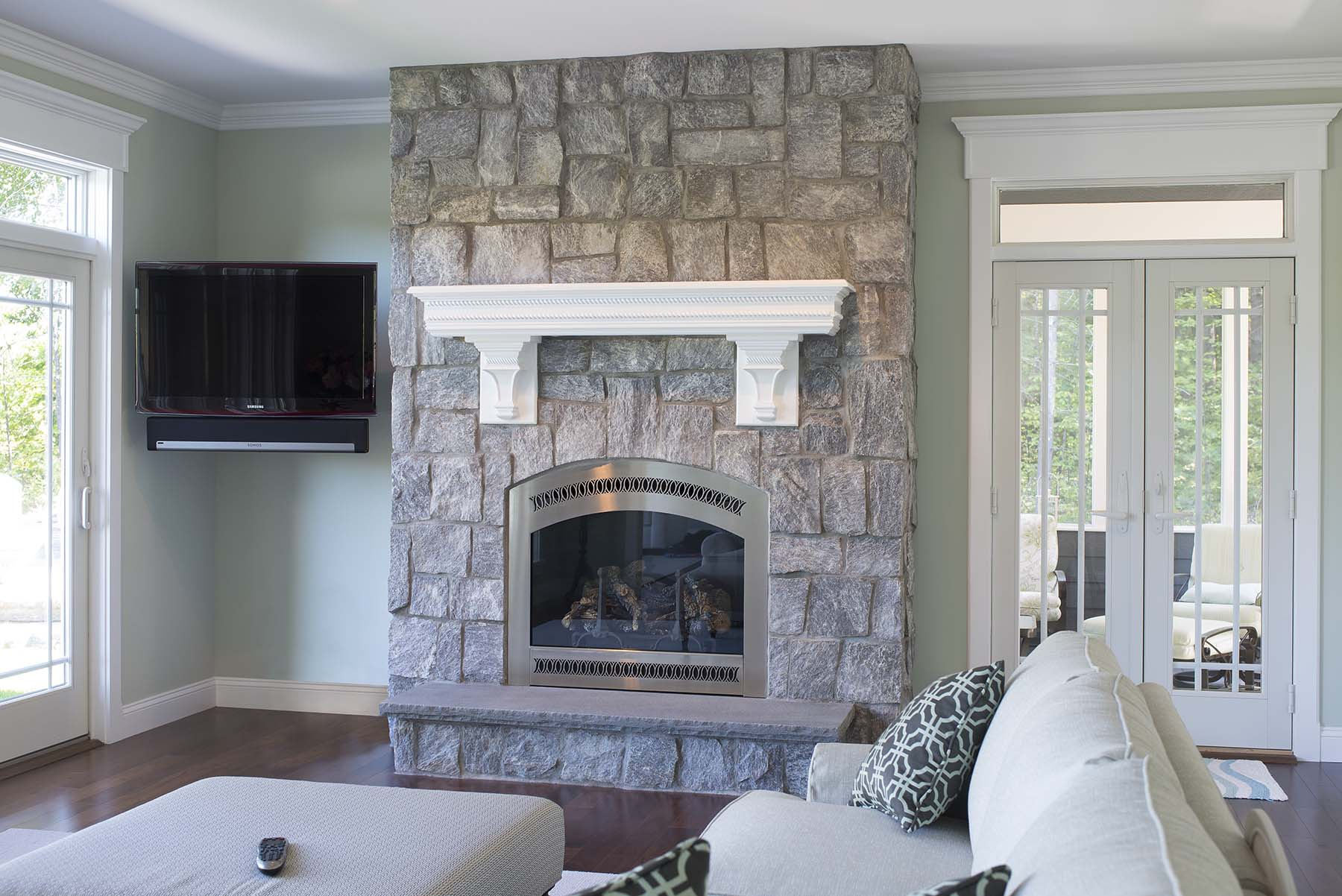 Natural stone wall constructed from wood creek granite
