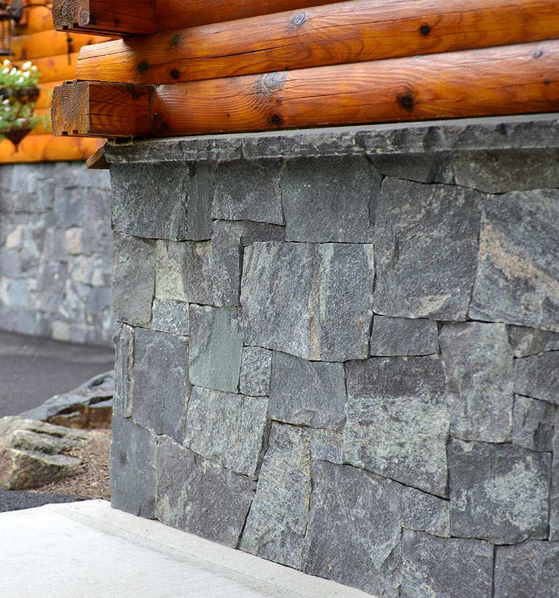 Close Up of Natural Adirondack Granite wall on private residence