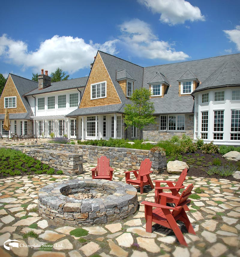 natural Adirondack stone patio at residential home
