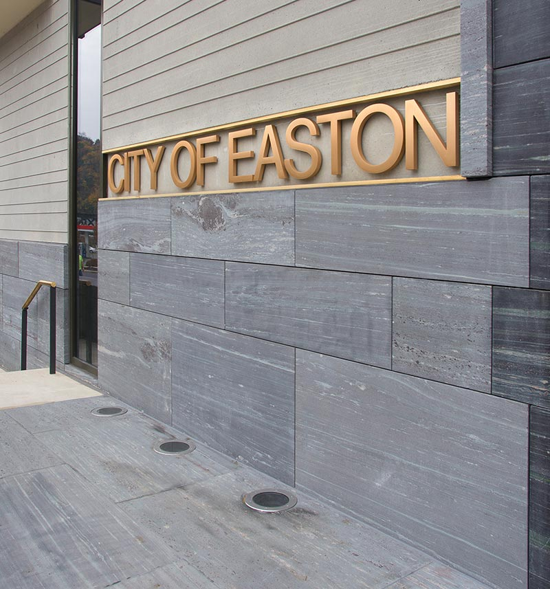 natural stone exterior wall and sign at Easton City Hall
