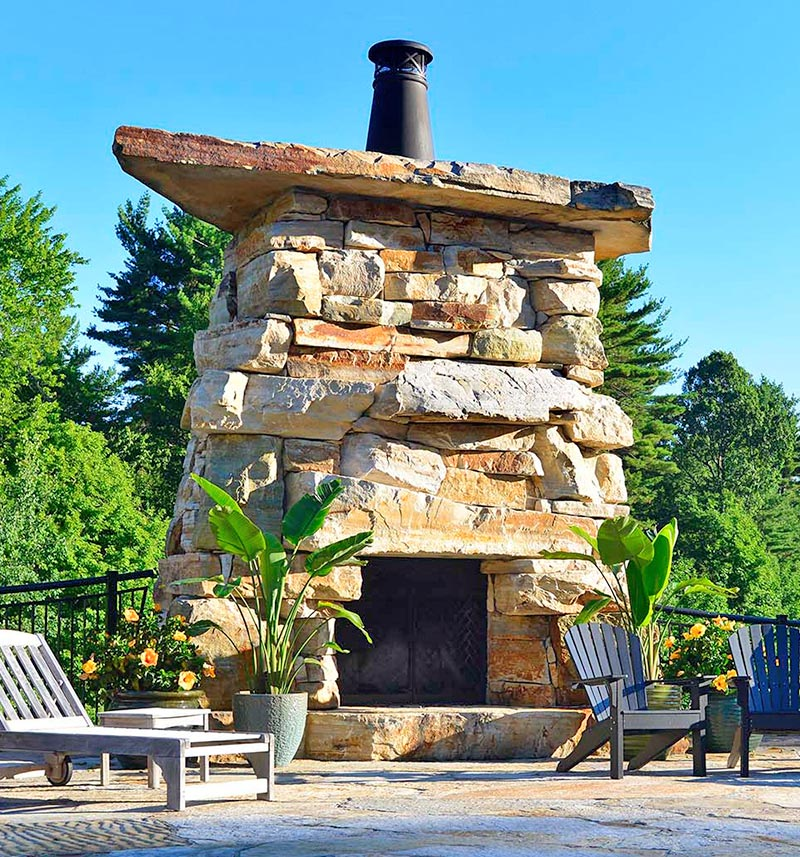 100% natural adirondack stone custom outdoor fireplace