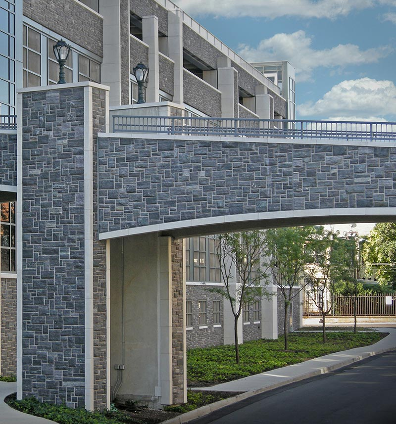 Stone veneer bridge at Fordham University