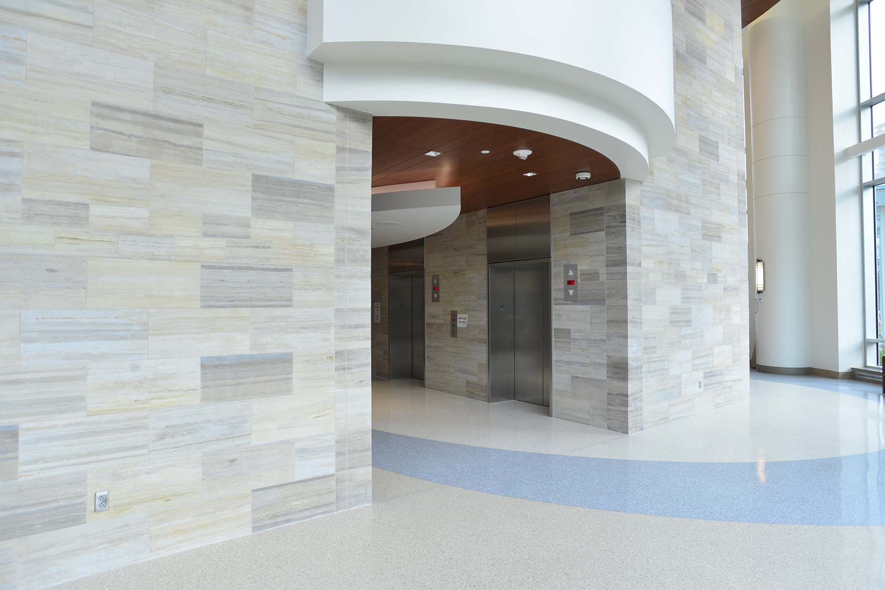 natural stone thin veneer indoor wall for inova fairfax hospital