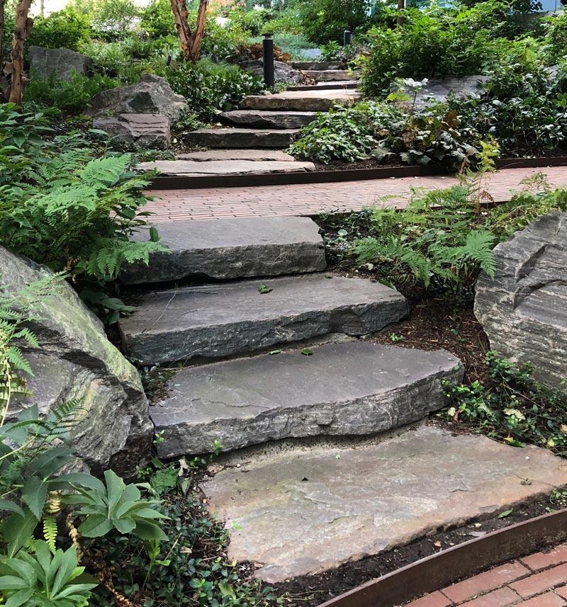 flat stone steps in garden