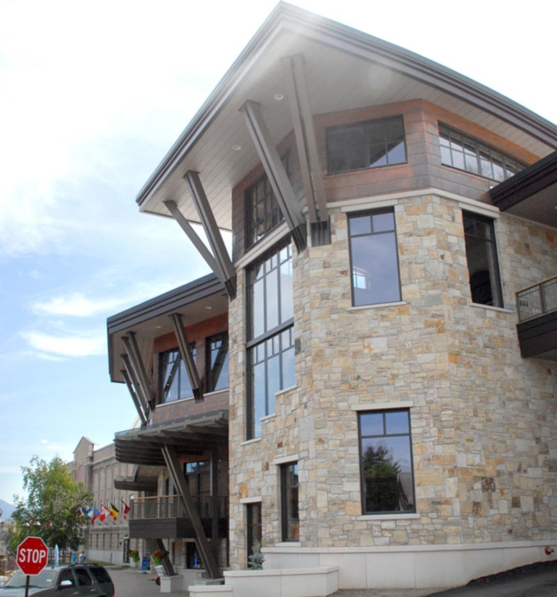 Stone Veneer Exterior of Lake Placid Conference Center
