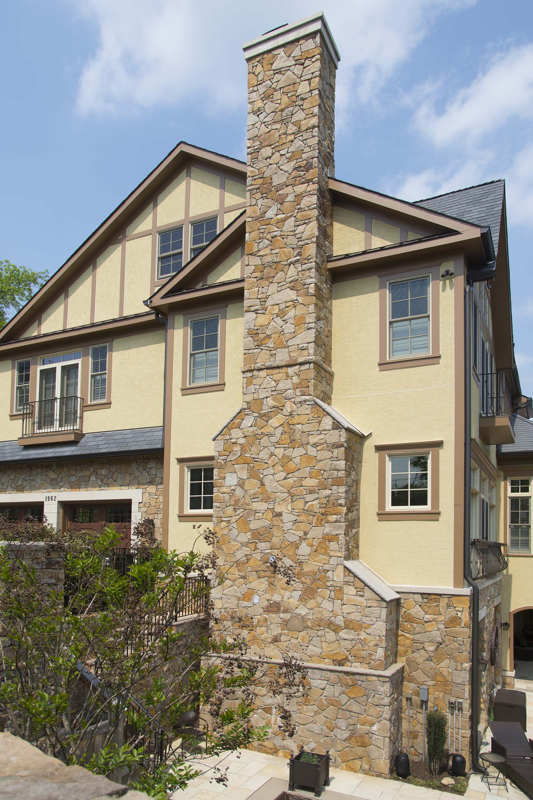 private residence with natural stone chimney