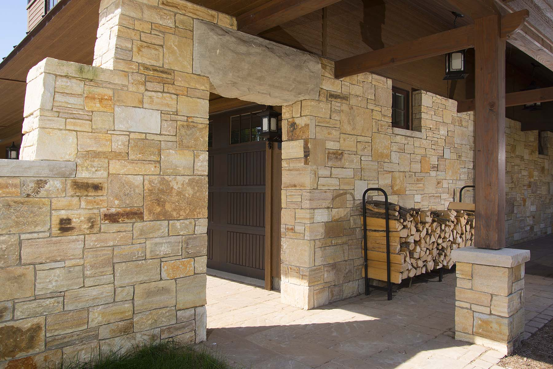 private residence with natural stone veneer wall