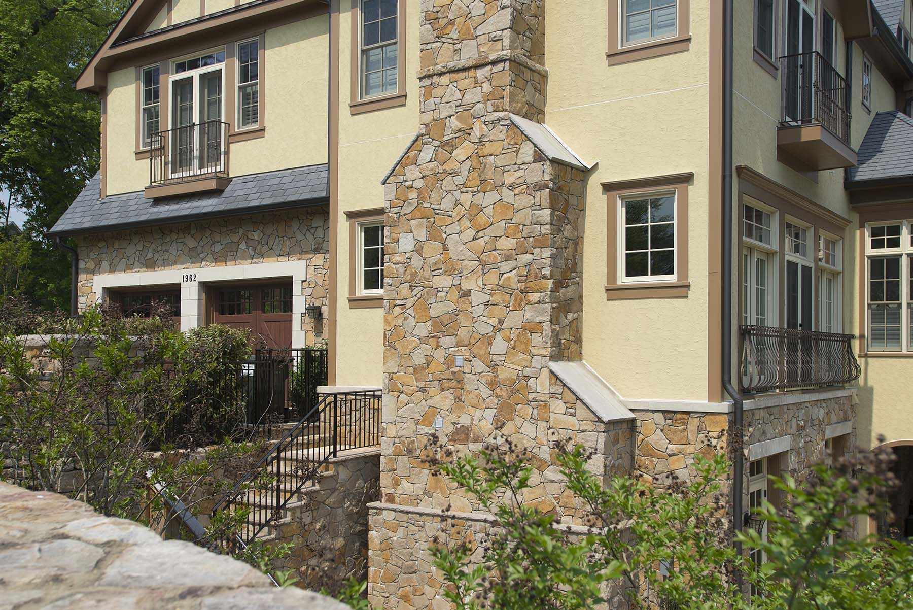 natural stone chimney and stairs for private residence