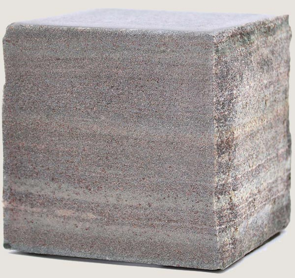 Cube of stone with sandblast finish