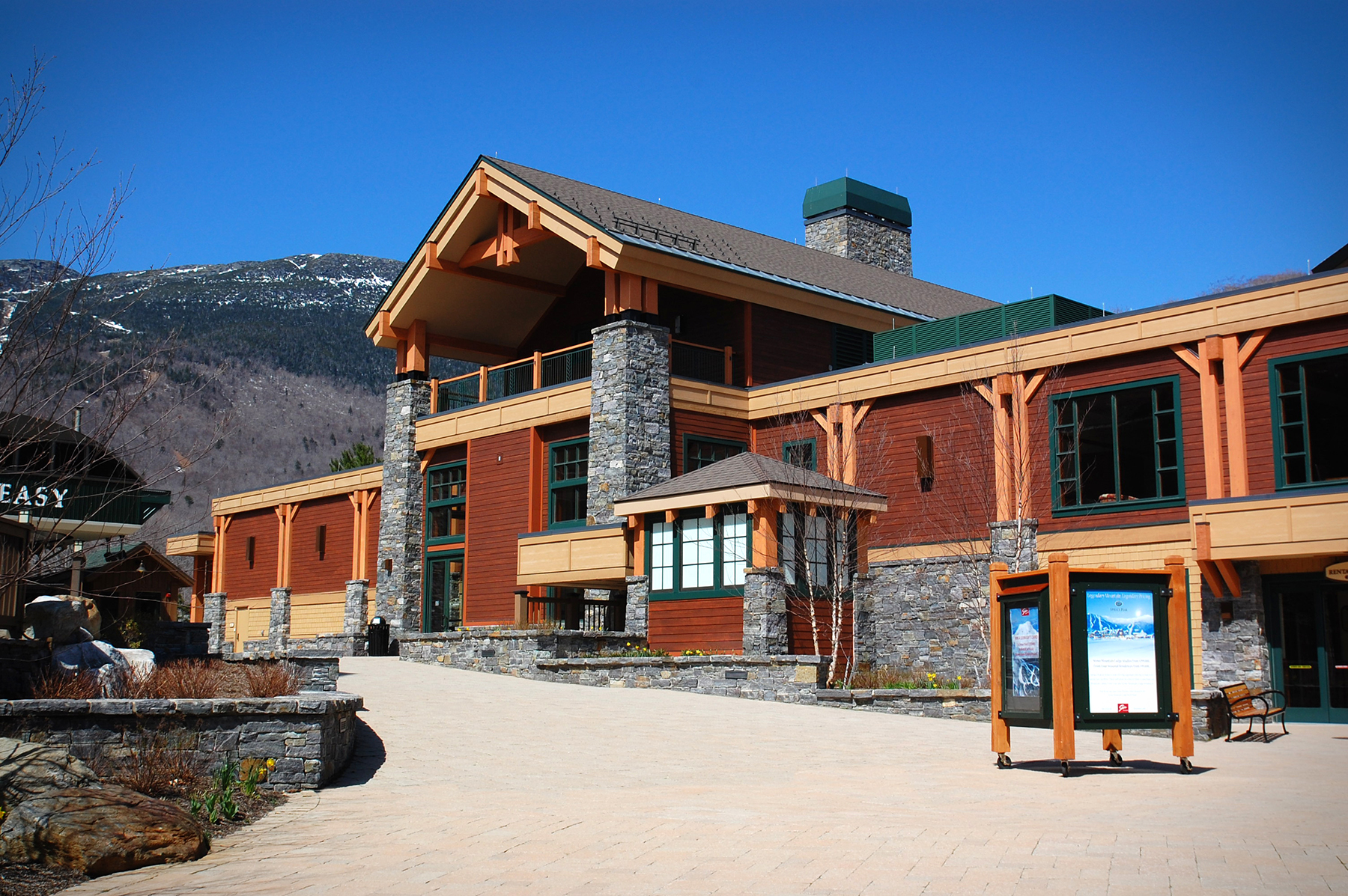 exterior of mountain lodge