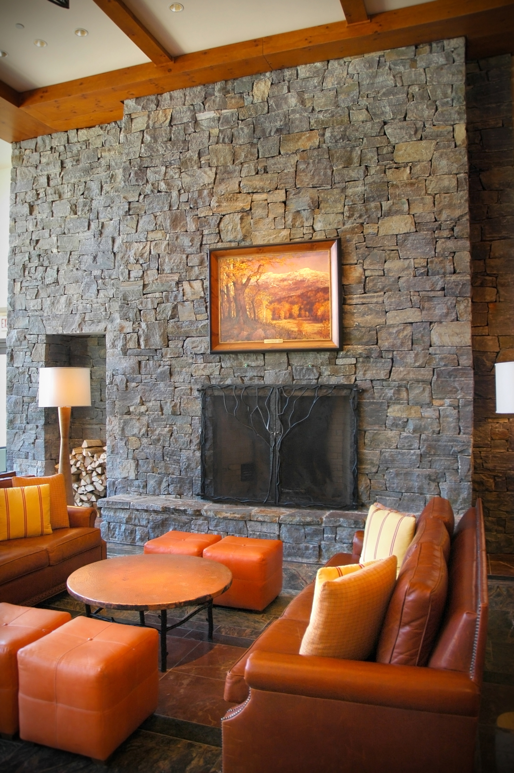 stone interior in lodge