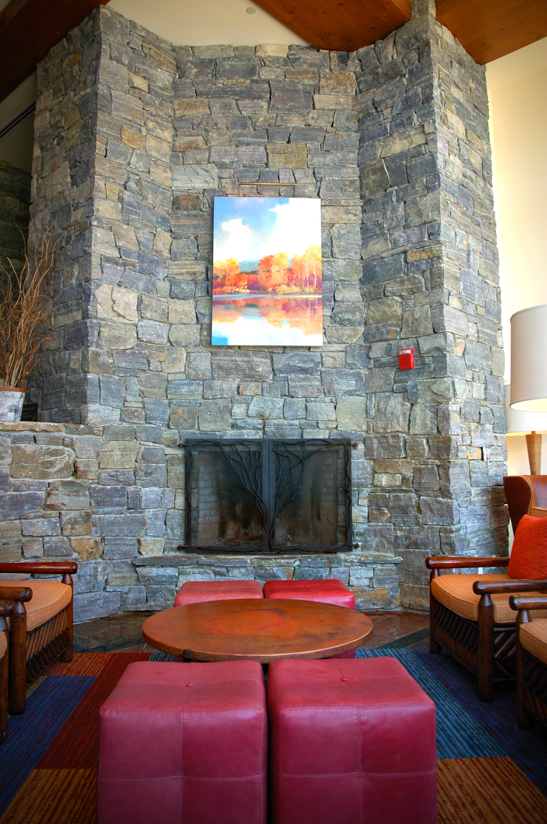 large stone based fireplace