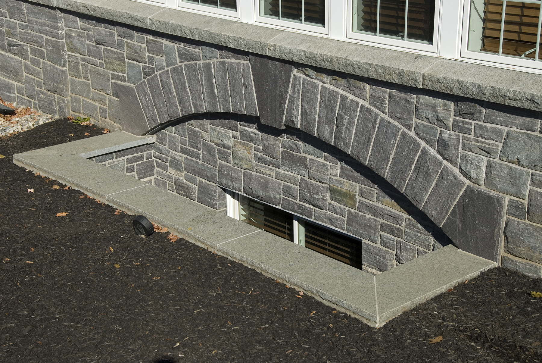 stone basement window